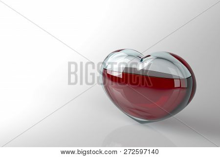 The Glass Heart Is Filled With Red Liquid, Like Blood On A White Background With Copy Space. The Hea