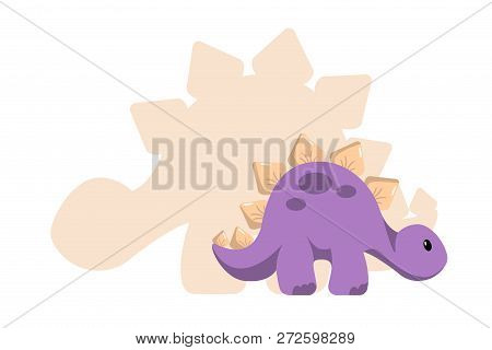 Vector Baby Dino Flat Style Icon And Its' Silhouette - Stegosaurus Or Spinosaurus - For Logo, Poster