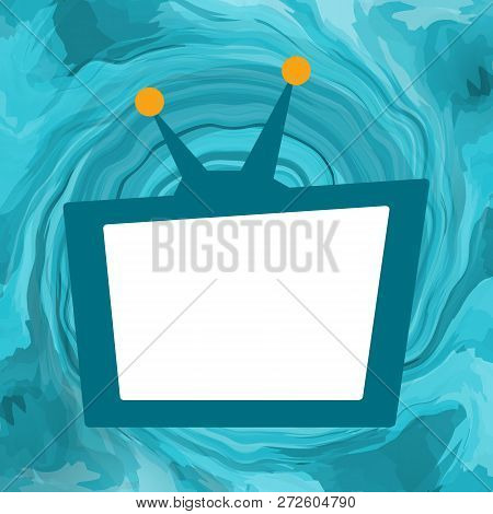 Tv Set Broadcasting With White Empty Screen On Sea Maelstrom Background