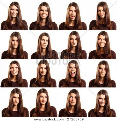 teenager girl grimacing set isolated on white background