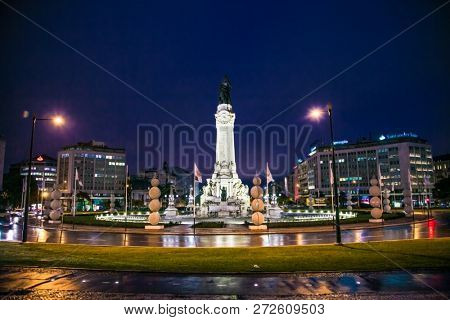 Lisbon, Portugal - Oct, 31 2018: The Marquess of Pombal Square roundabout in the city of Lisbon, Portugal with the monument to Sebastiao Jose de Carvalho e Melo.