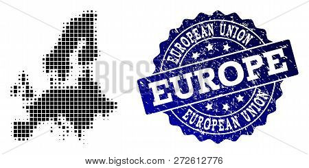 Geographic Composition Of Dot Map Of Euro Union And Blue Grunge Seal Stamp Imprint. Halftone Vector