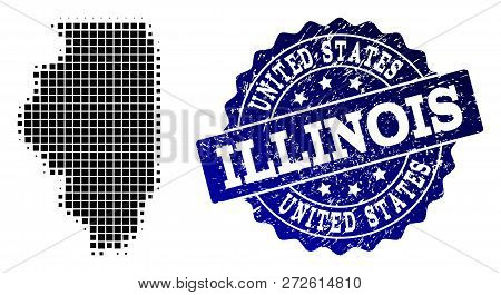 Geographic Composition Of Dot Map Of Illinois State And Blue Grunge Stamp Imprint. Halftone Vector M