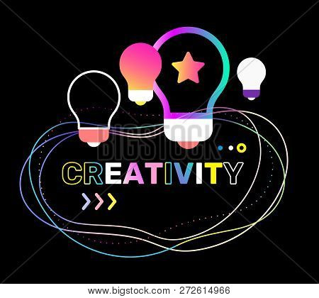 Vector Creative Illustration Of Creativity Word Typography With Light Bulb On Black Background. Crea