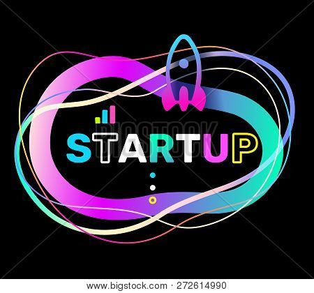 Vector Creative Illustration Of Startup Word Typography And Rocket On Black Background. Startup Tech