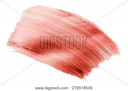 Beautiful Textured Living Coral Stroke Isolated On White Background Color Of The Year 2019. Main Tre