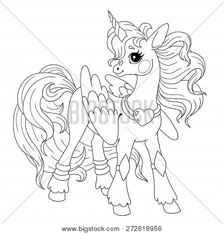 Cute Cartoon Character For Coloring Book. Pony Unicorn Doodle. Element For Children's Creativity. Fa