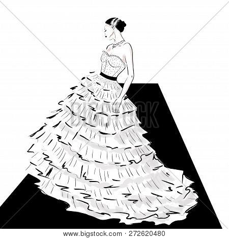 Elegant Lady In Couture Dress On Catwalk