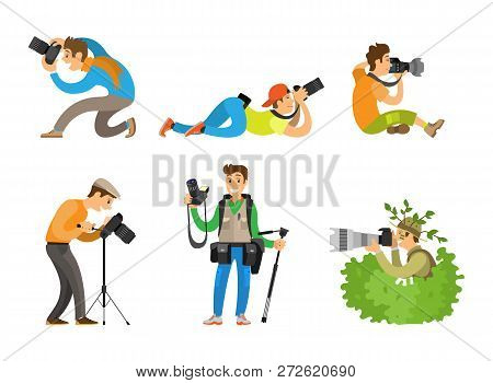 Photographers or paparazzi taking photo with digital cameras from all angles and bush. Journalists or reporters spy and follow vector illustrations. poster