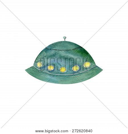 Ufo Watercolor Flying Saucer Character Drawing Illustration Geometric Clip Art For Birthday Party Pr