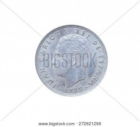 Obverse Of 25 Pesetas Coin Made By Spain, That Shows Portrait Of Juan Carlos I King Of Spain