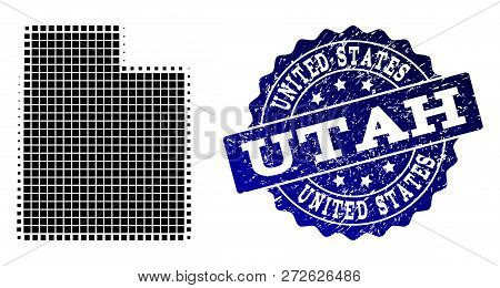 Geographic Composition Of Dot Map Of Utah State And Blue Grunge Seal Imprint. Halftone Vector Map Of