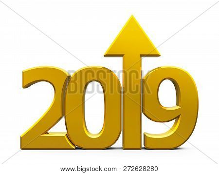 Gold 2019 With Arrow Up Isolated On White Background, Represents Growth In The New Year 2019, Three-