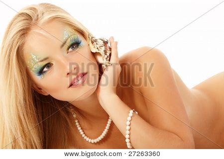teenager girl mermaid beautiful calling phone with shell isolated on white background