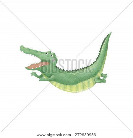 Crocodile Digital Clip Art Cute Animal Flying And Jumping Croc Cute Drawing Character Funny Kid Styl