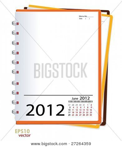 Simple 2012 calendar notebook, June. All elements are layered separately in vector file. Easy editable.