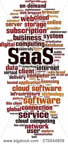 Saas, Software As A Service, Word Cloud Concept. Vector Illustration On White