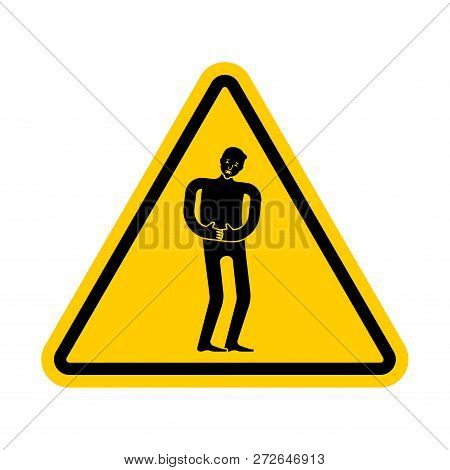 Attention Pain. Caution Distress Man. Yellow Triangle Road Sign
