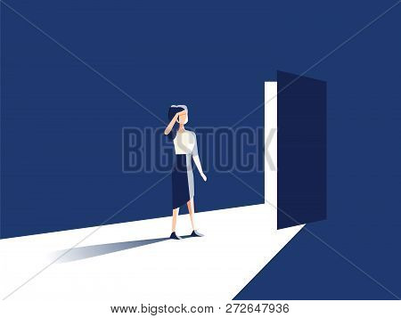 Businesswoman Opening Door Vector Concept. Symbol Of New Career, Opportunities, Business Ventures An