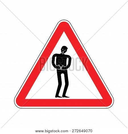 Attention Pain. Caution Distress Man. Red Triangle Road Sign