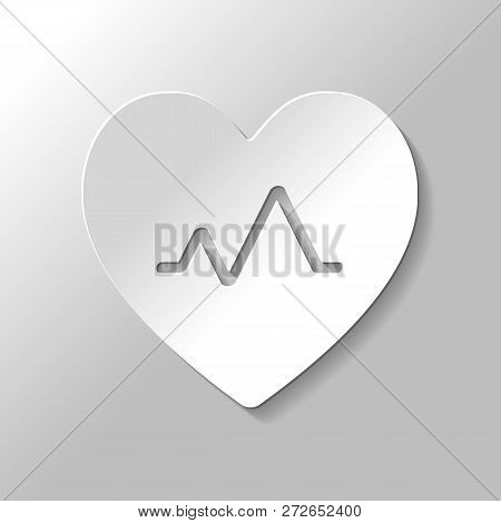 Cardiac Pulse. Heart And Pulse Line. Simple Single Icon. Paper Style With Shadow On Gray Background