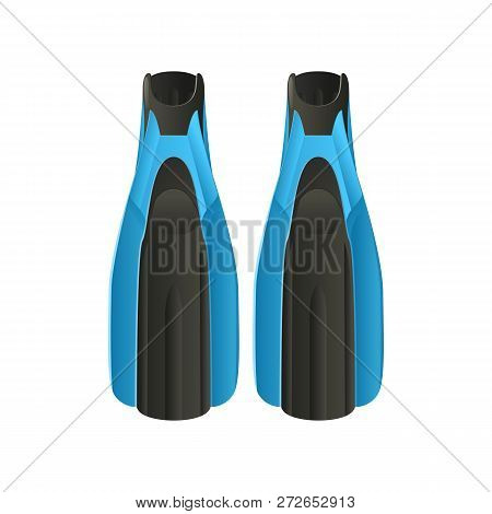 Pair Of Flippers Flat Icon. Aqualung, Scuba Diving, Underwater Swimming. Water Sport Concept. Vector