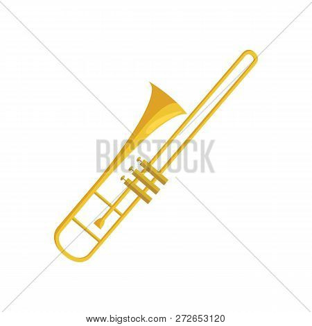 Trombone Flat Icon. Brass Band, Symphony Orchestra, Concert. Musical Instruments Concept. Vector Ill