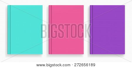 Rectangular Vector Blank Colored Realistic Book Cover Mockups Set, Closed Organizer Or Notebook Cove