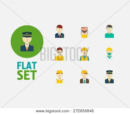 Profession Icons Set. Arab Worker And Profession Icons With Nurse, White Worker And Construction Wor