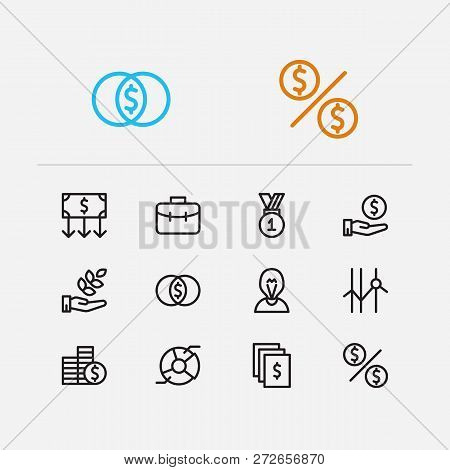 Capital Icons Set. Agriculture Investment And Capital Icons With Assets, Inventor And Income. Set Of