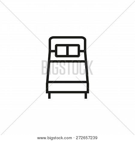 Double Bed Line Icon. Mattress, Pillow, Duvet. Furniture Concept. Vector Illustration Can Be Used Fo