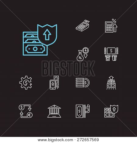 Money Payment Icons Set. Mobile Payment And Money Payment Icons With Online Bank, Money Transfer And
