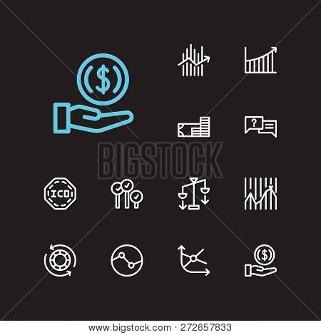 Finance Trading Icons Set. Invest Money And Finance Trading Icons With Averaging Down, Ask And Chip