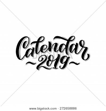Illustration Of 2019 Calendar Cover. For Print Notebooks, Daily Planner For Companies And Private Us