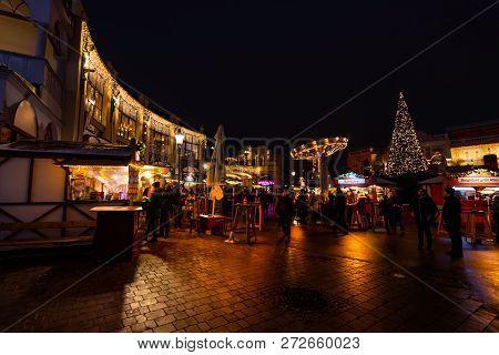 Vienna, Austria - 1.12.2018: Vienna Prater Park, Austria. Night Scene From The Famous Tourist Destin