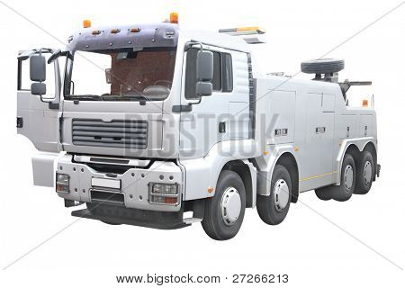 wrecker under the white background