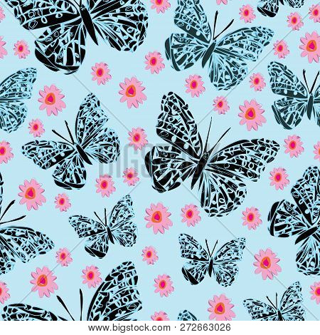 Butterflies And Dasies-butterfly Garden,seamless Repeat Pattern In Blue,petrol,blak,pink. Romantic P