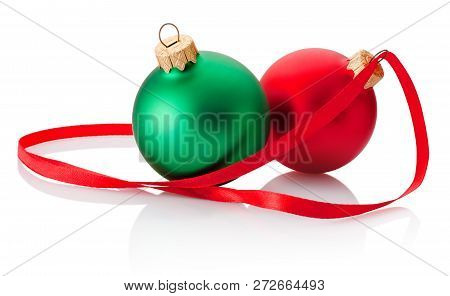 Two Christmas Bauble And Ribbon Isolated On White Background
