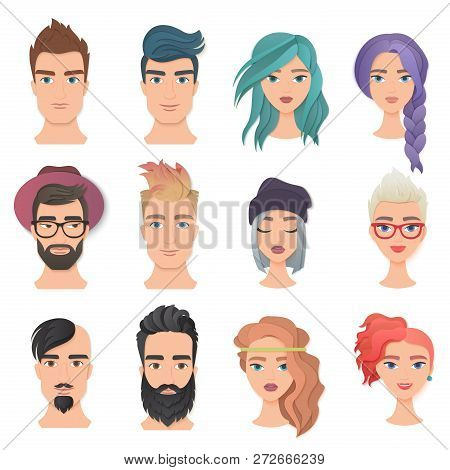 Handsome Man And Young Beautiful Woman Portrait Avatar Face Set Vector Illustration. Trendy Paper La