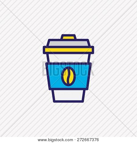 Vector Illustration Of Coffee Icon Colored Line. Beautiful Activities Element Also Can Be Used As De