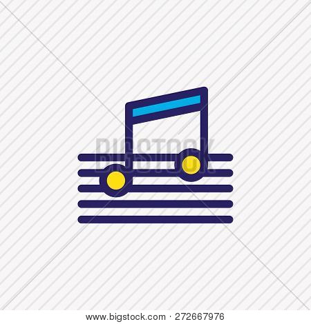 Vector Illustration Of Music Icon Colored Line. Beautiful Events Element Also Can Be Used As Quaver