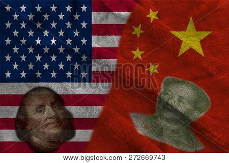 China and Usa Two Half Flags Together with faces of Benjamin Franklin and Mao Zedong poster