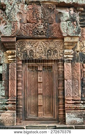 A Stone Carved Doorway On An Ancient Jungle Ruin