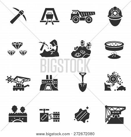 Mining Industry. Monochrome Icons. Extraction Of Minerals From The Earth