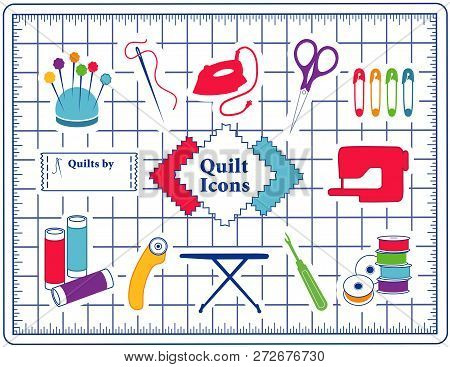 Quilt, Patchwork, Sewing Icons On Cutting Mat: Pincushion, Needle, Thread, Iron, Scissors, Safety Pi