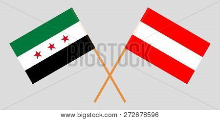 Syria And Austria Opposition. The Syrian National Coalition And Austrian Flags. Official Colors. Cor