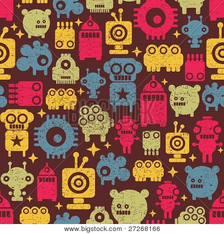 Robot and monsters cute seamless pattern.