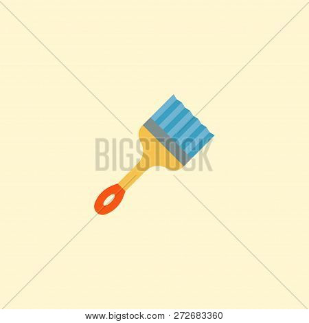 Straight Edge Brush Icon Flat Element.  Illustration Of Straight Edge Brush Icon Flat Isolated On Cl