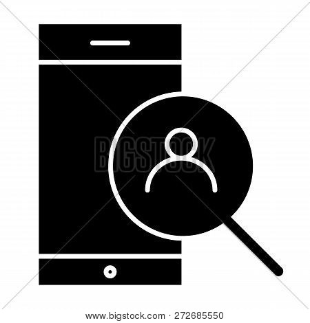 Smartphone And Magnifying Search Solid Icon. Search Contact On Smartphone Vector Illustration Isolat