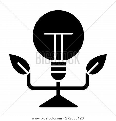Ecology Light Bulb Solid Icon. Eco Lamp Vector Illustration Isolated On White. Ecology Power Sign Gl